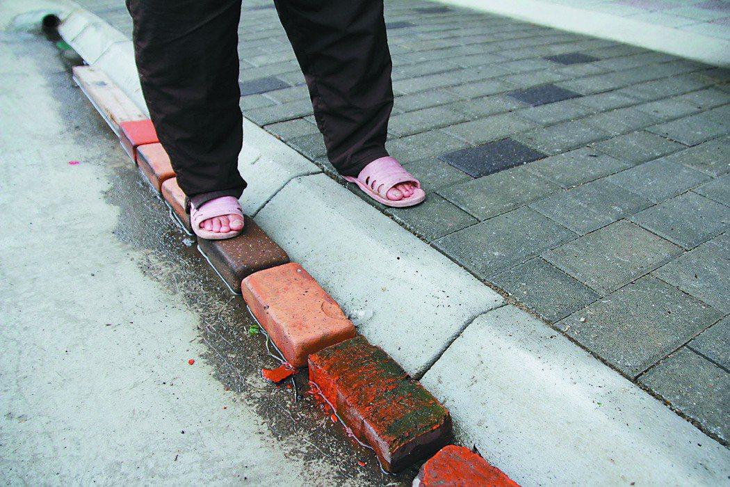 竹東鎮中豐路人行道與路面落差8公分,居民自行墊磚頭。 記者蔡昕穎╱攝影