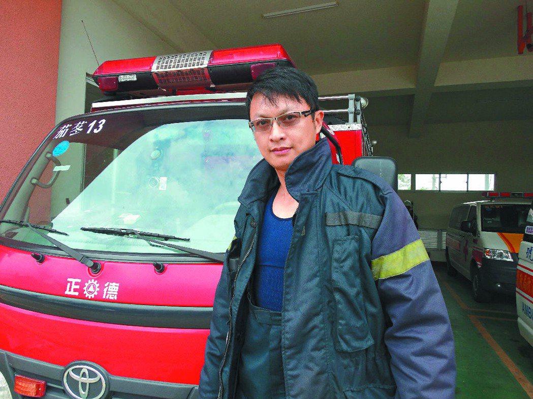 八德市茄苳消防分隊消防員林治均,至今仍很感謝國中班導師提攜。 記者顏彙燕╱攝影