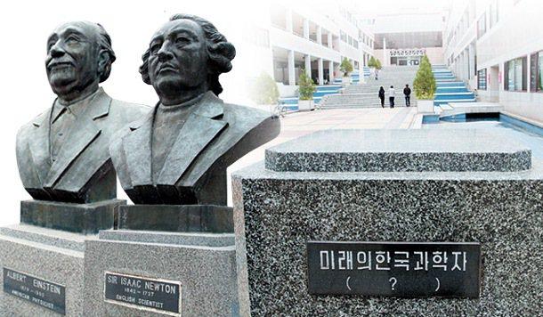 浦項工科大學中庭裡有四座雕像,分別是牛頓、馬克斯威爾(James Clerk M...