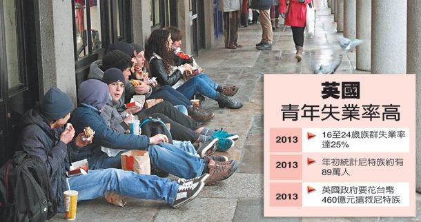 英國物價高漲,沒錢的年輕人多是買個速食席而坐,簡單解決一餐。 特派記者潘俊宏/攝...