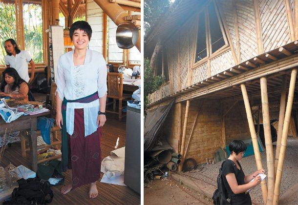 交大建築所學生陳思因在印尼蓋了人生第一棟竹屋。 陳思因/提供