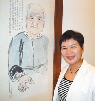 林秋芳深受阿嬤影響,家裡牆上的阿嬤畫像是她的最愛。 記者吳淑君╱攝影