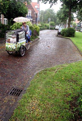 強制汽車要降速 在荷蘭交通寧靜區內,道路會故意設得歪歪扭扭,讓汽車想快也快不了。...