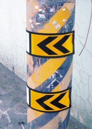 屏東縣警局交通隊設計的「環形安全反光束帶」,有效降低夜間自撞車禍頻率。 圖╱交通...