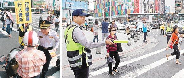 臺北市政府警察局上午執行「禮讓行人」活動,員警與志工在中華路與寶慶路口發傳單,提...