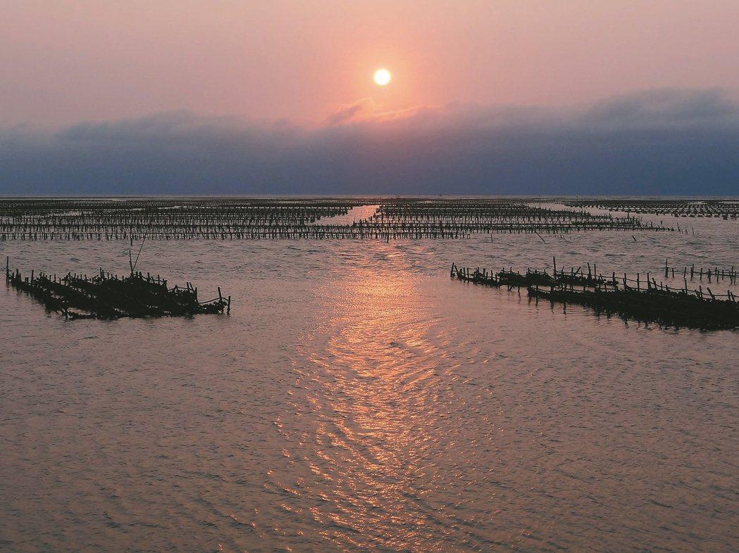 東石漁人碼頭的夕陽景觀,除可看到日落太陽,還可看到一畦畦蚵棚。