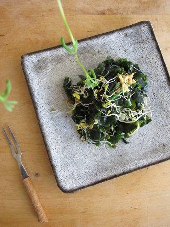 麻油薑香 海帶芽拌芽菜 圖/蔡惠民