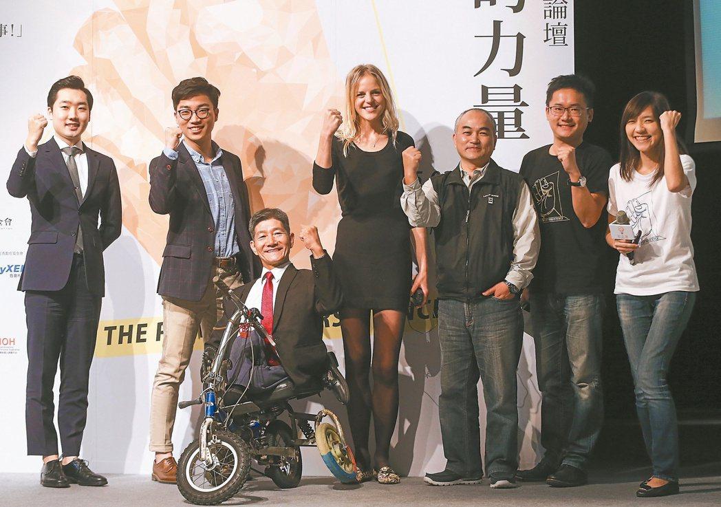 社企流三周年論壇,與會來賓有樹木星球創辦人Kim Hyung Soo(左起)、C...