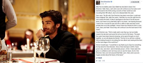 當紅英國偶像男團1世代(One Direction)團員贊恩(Zayn Malik)今天凌晨在臉書發表退團聲明,讓粉絲們一片錯愕,還哭求偶像不要走。贊恩無預警的發表退團聲明,不僅讓粉絲難過,其它四位...
