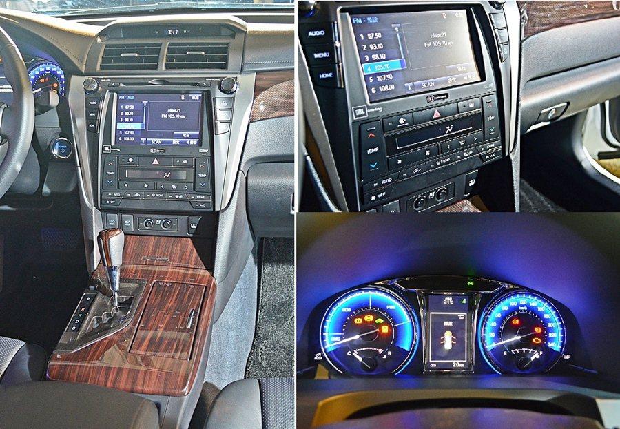 盾牌造型中控台,內建CD/MP3主機,Hybrid旗艦與尊爵版則有DVD觸控影音...