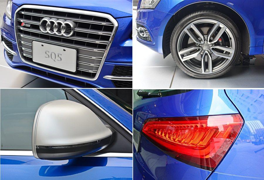 SQ5車身有許多SQ5專屬設計,如鋁合金塗裝的後視鏡、鋁合金車頂架、專屬20吋五...