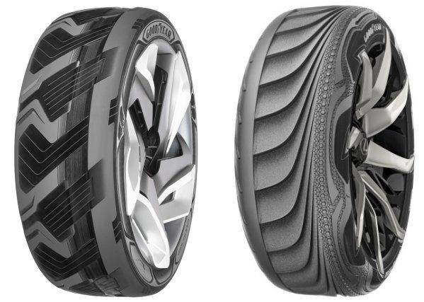 固特異輪胎發表兩款概念輪胎設計,左為熱能轉電能的充電胎BH03,右為胎壓自適調整設計的Triple Tube胎。 Goodyear提供