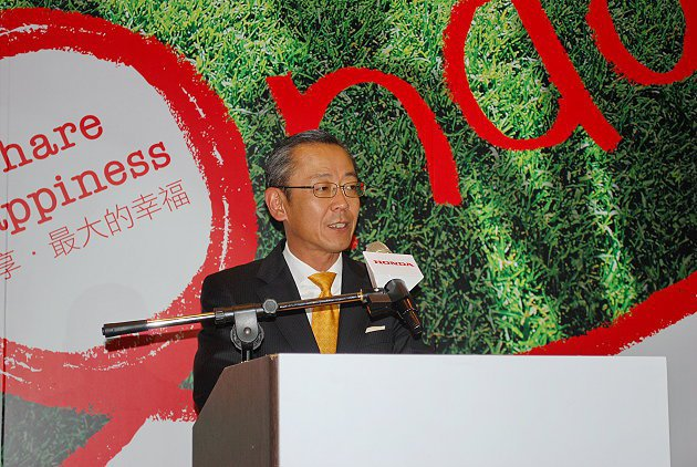 牧野朗宣誓,即使景氣低迷,Honda今年成長目標訂為35%。 趙惠群