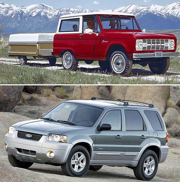 上為Bronco,下為第一代Escape。 Ford