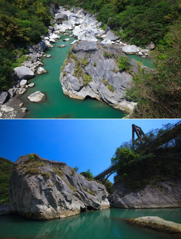 東河橋的特殊設計,讓橋下的景觀得以保存。 台東縣觀光局