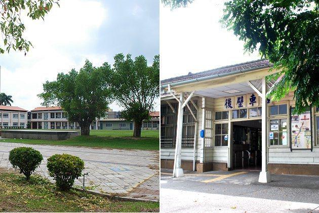 全木造的後壁車站(右)與多老樹的後壁國小。 記者趙惠群/攝影