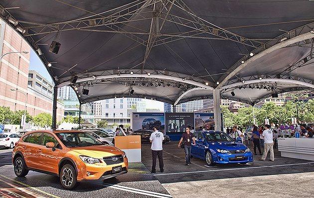 在信義區停車場Subaru品牌55周年活動。 蔡志宇