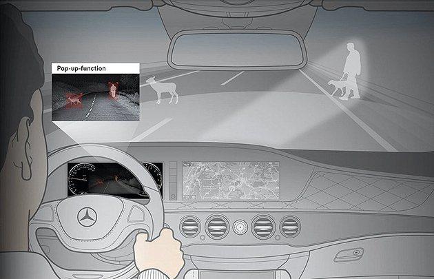 S-Class可夜間行駛自動朝路人或動物照明。 M-Benz