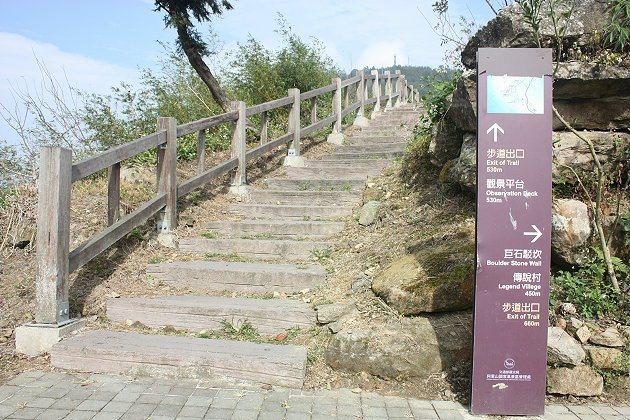 從二延平步道口往山頂爬,大約800公尺,爬到山頂大概要40~50分鐘。 記者林和...