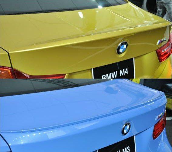 M3採用M款小鴨尾,M4是更為更為一體造型尾翼,型塑M4的跑車風格 記者許信文/...