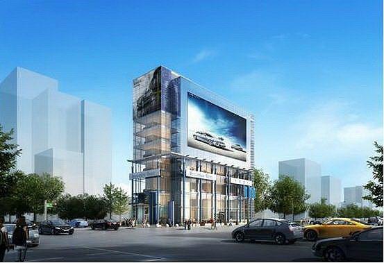 中華賓士2月曾宣布在台中蓋全台最大賓士展示中心AH800,圖為該透明建築的示意圖...