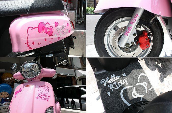 車身外觀擁有Hello Kitty裝飾圖案;並有專屬踏墊。 記者林和謙/攝影