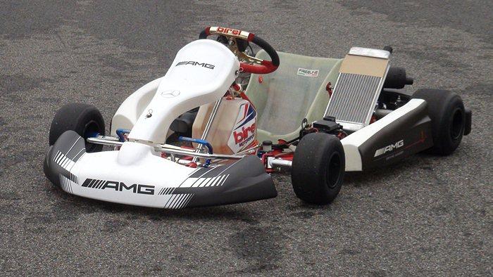 大魯閣卡丁車賽車場特別造有AMG徽飾的卡丁車。 記者趙惠群/攝影
