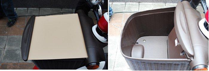 車頭有附遮蔽式拉簾的置物籃,提供充裕的置物空間。  記者趙惠群/攝影