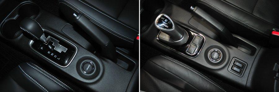左為四驅汽油版變速系統鞍座。右圖PHEV油電車,排檔桿後方提供駕駛者主動切換電動...