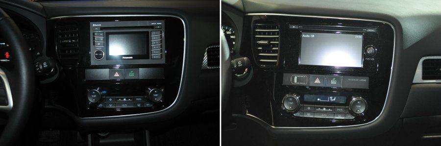 左為汽油版搭載的整合式影音系統,右為PHEV搭載觸控螢幕影音。 記者許信文/攝影