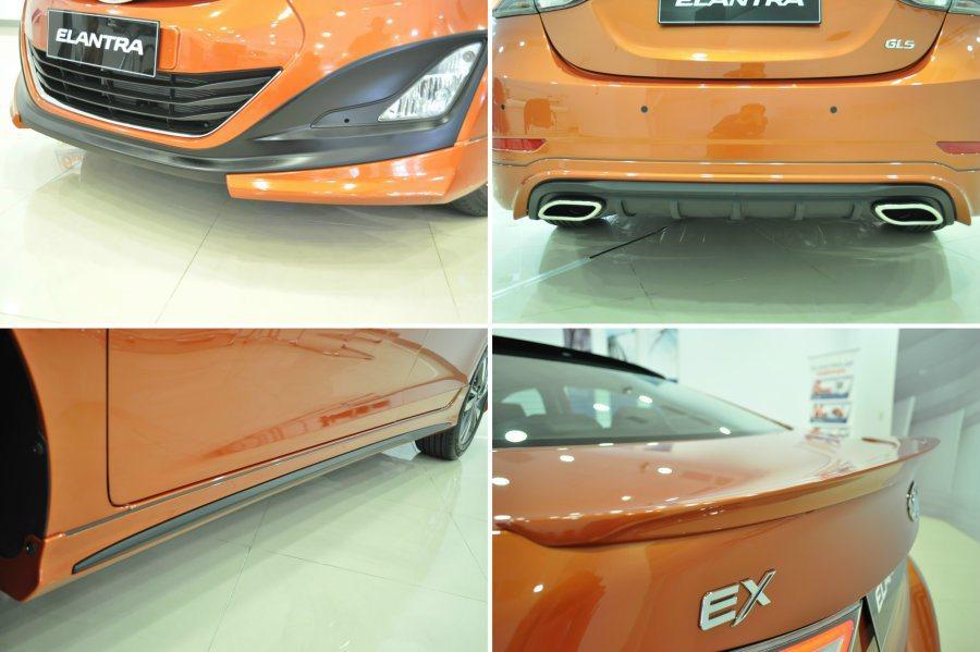 外觀空力套件也多了雙色前下擾流、後下擾流(附不銹鋼尾飾管),以及歐式尾翼與後擋車...