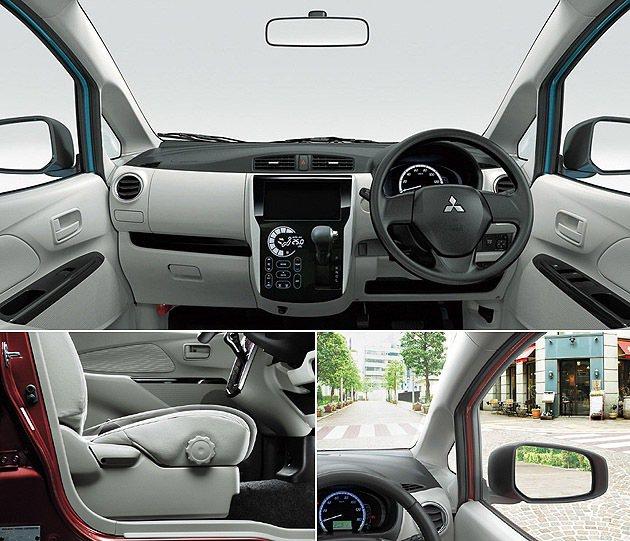 內裝配置年輕為主,前方視野相當寬敞。 Mitsubishi