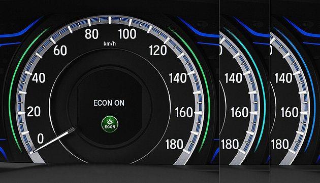 單環儀表以不同色澤光環顯示不同驅動模式。 Honda
