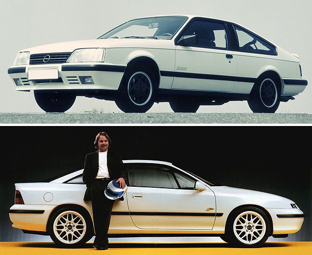 上為舊款Opel Monza,下為Opel Calibra Opel
