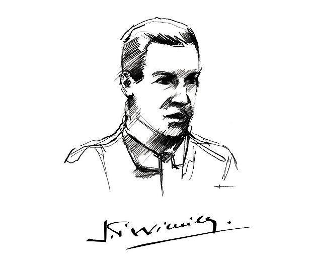 Bugatti設計巷師手繪的Jean Pierre Wimille肖像。 Bug...