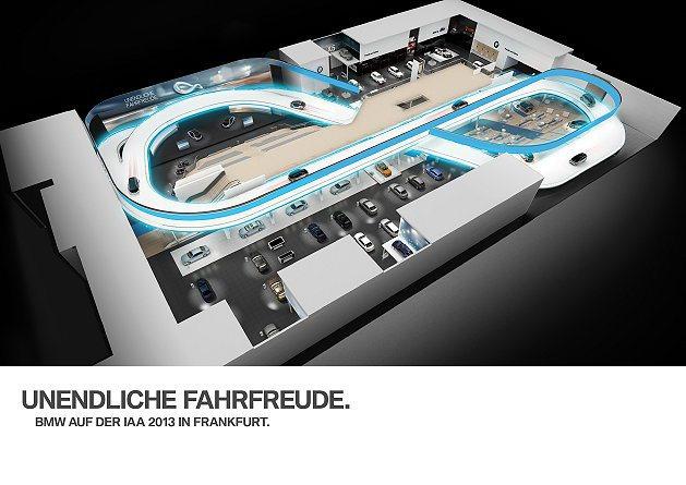 BMW將在車展攤位架設環形跑道。 BMW