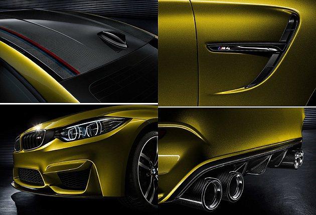 碳纖維車頂、車側的氣壩、碳纖維排氣管,只有M4才有。 BMW