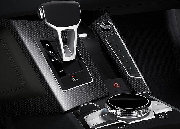 Audi Sport quattro中央鞍座上有觸控式MMI多媒體旋鈕 Audi
