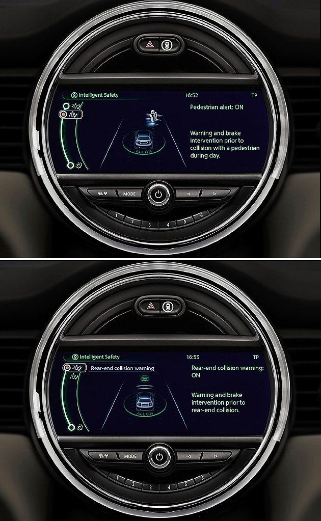 行人偵測與車距偵測系統。 MINI