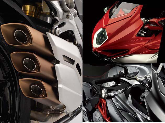 三出排氣管與3D立體車頭。 MV Agusta