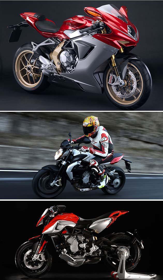 MV Agusta三缸家族上到下:F3、Brutale、Rivale MV Ag...