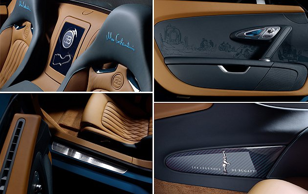 內裝雙色,兩種深藍色相當特殊。 Bugatti