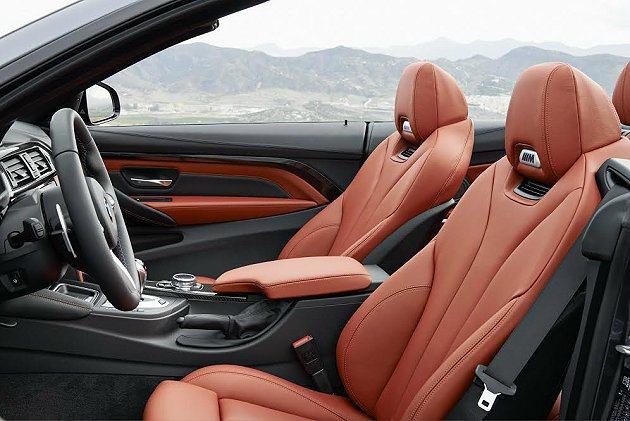 M4 Convertible真皮跑車座椅有繁複的版型。 BMW提供