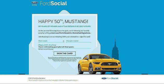 Ford汽車招募全球車迷寫下電子賀卡,祝福Mustang 50歲大壽,目標打破金...