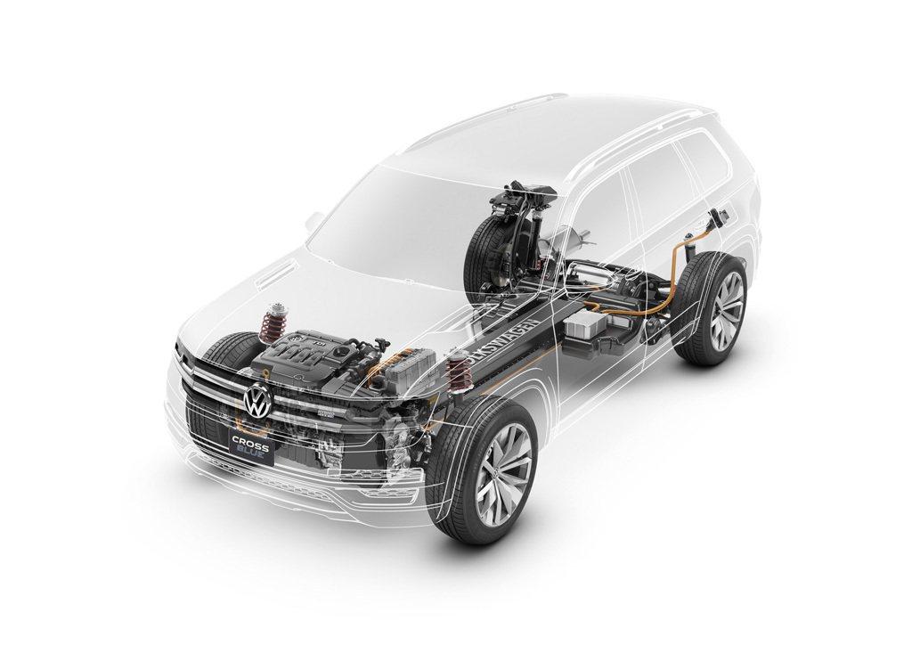 CrossBlue搭載TDI柴油引擎及前後2組的電動馬達組成柴油混合動力系統 V...