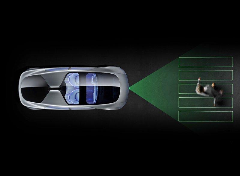 車子也能和外界的溝通,以提升行車安全,友善路人,它是透過雷射投影技術和LED燈顯...