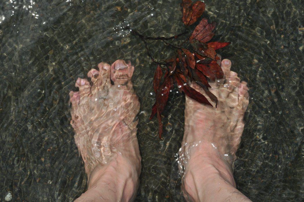 秋老虎曬的發熱,可從步道階梯走近梅花湖畔,不過上游每日固定洩洪,戲水要多注意。 記者許信文/攝影