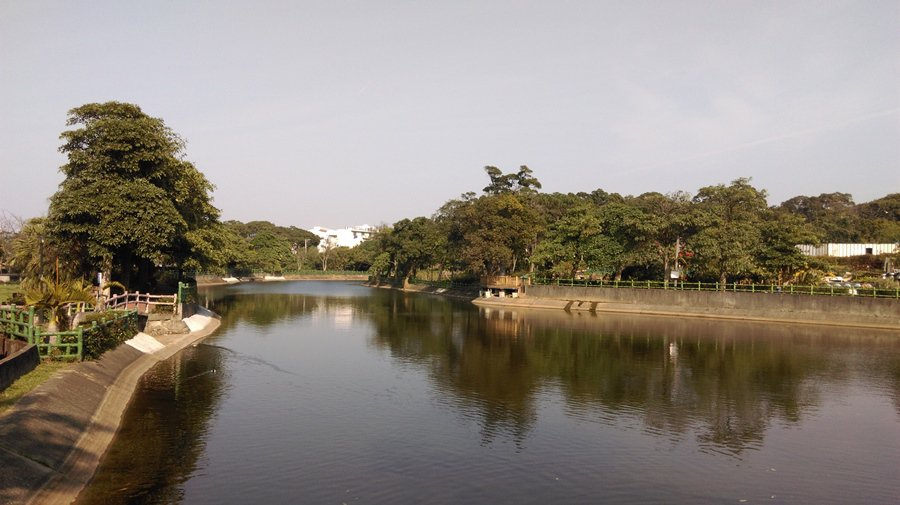 5B秀才埤塘公園,環繞埤塘有步道和涼亭,冬季也有水鴨來此度冬。 記者趙惠群/攝影