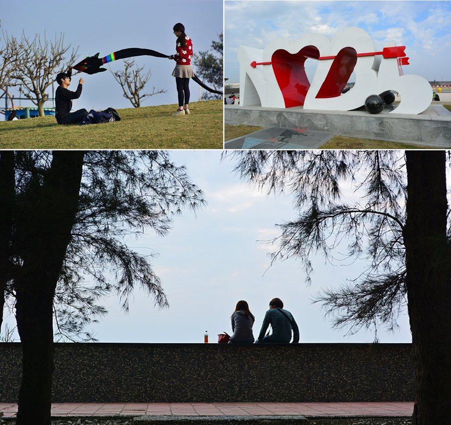東石漁人碼頭園區特別點綴了許多浪漫的愛情元素,成為情侶談心的祕密花園。 記者趙惠群/攝影