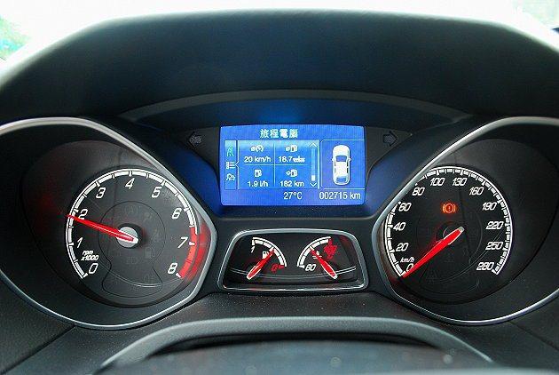 儀表更換熱血的紅色指針,中央液晶螢幕可顯示油耗和行駛里程等數據。 趙惠群